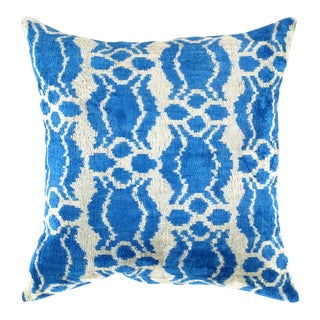 Turkish Hand Woven Velvet Ikat Pillow 20'' #Ti 288 For Sale