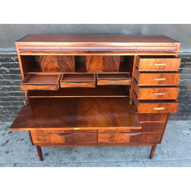 1960s Scandinavian Modern Erling Torvits for Klim Mobelfabrik Rosewood Secretary Desk For Sale - Image 10 of 13