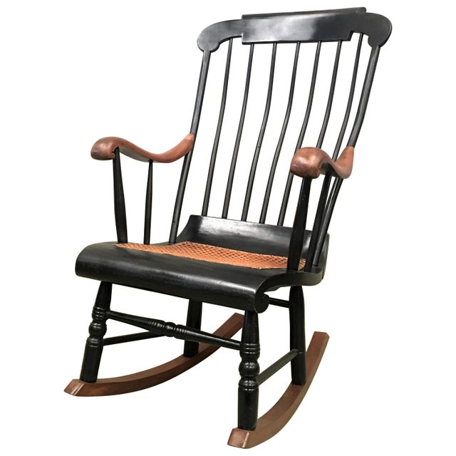 19th Hitchcock Rocking Chair With Woven Seat and Black Painted For Sale - Image 9 of 9