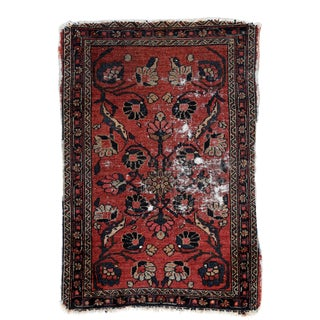 "Antique Distressed Persian Lilihan Rug 1'11"" X 2'10"" For Sale"