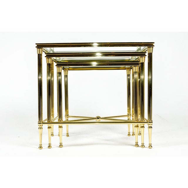 Brass & Glass Nesting Tables - Set of 3 For Sale - Image 4 of 8