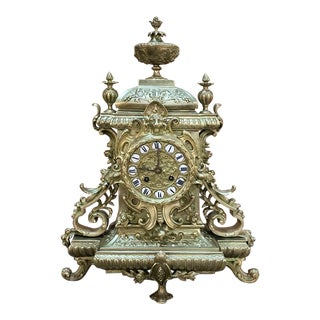 19th Century French Renaissance Revival Bronze Mantel Clock. For Sale