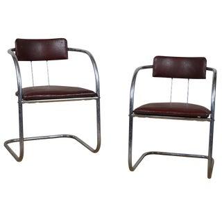 Art Deco Tubular Chrome Chairs - a Pair For Sale