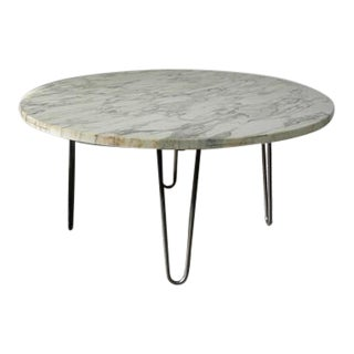 1960s Mid Century Modern White Marble Coffee Table For Sale