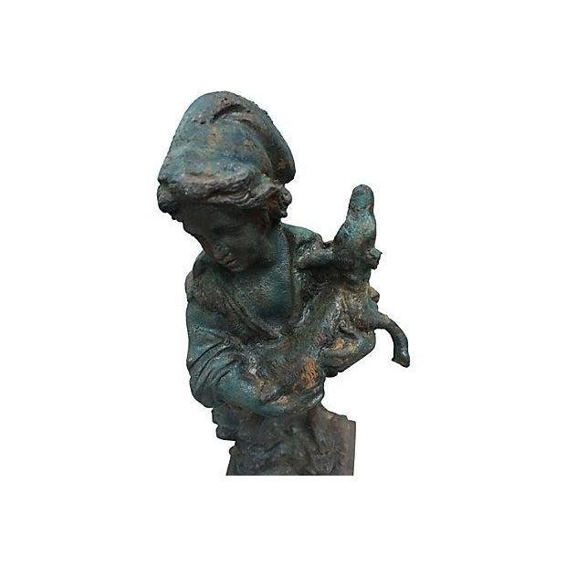 French Cast Iron Boy & Calf Garden Statue - Image 5 of 6