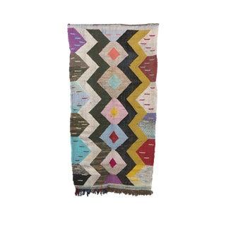 1980s Boucherouite Moroccan Kilim Rug - 4′9″ × 7′5″ For Sale