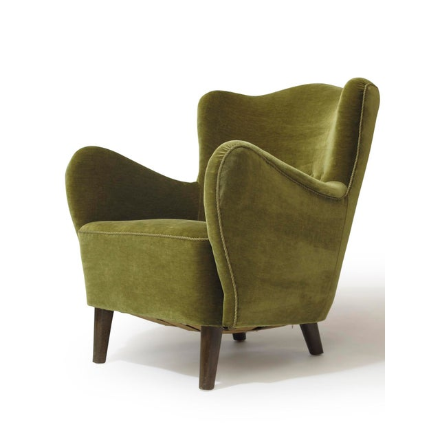Green Scandinavian Mohair Lounge Chair For Sale - Image 8 of 11