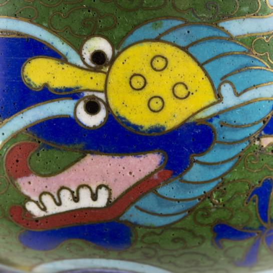 19th Century Antique Chinese Cloisonne Dragon Bowl For Sale - Image 9 of 11