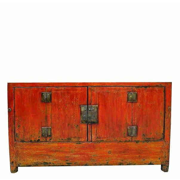 Ceramic 1950s Asian Modern Red Dongbei Wedding Cabinet For Sale - Image 7 of 7
