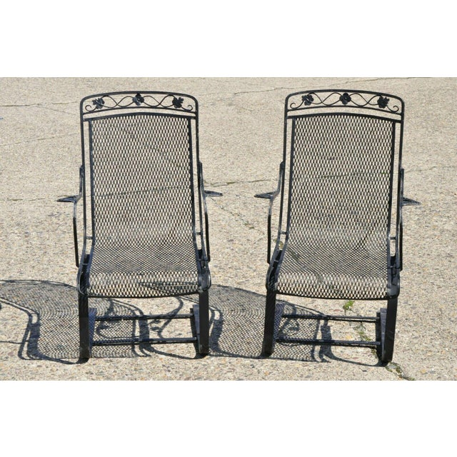 Vintage Mid Century oodard Wrought Iron Patio Bouncer Lounge Arm Chairs- A Pair For Sale - Image 12 of 12