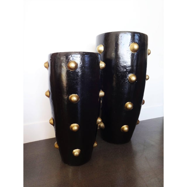 Gold Unique Pair of Black and Gold Sculpture Planters For Sale - Image 8 of 8