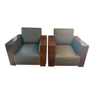 Mid-Century Walnut Armchairs - A Pair For Sale