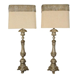 Silver Baroque Style Pricket Stick Lamps With Shades - a Pair For Sale
