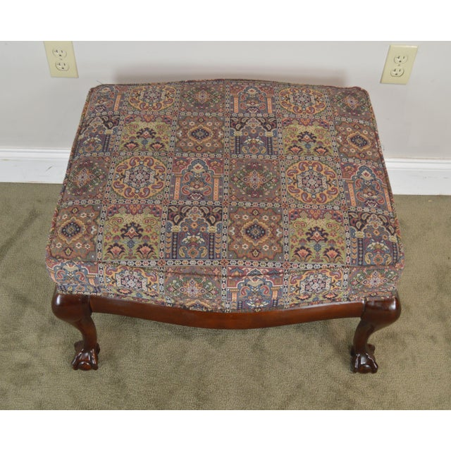 Wood Fairington Chippendale Style Ball & Claw Foot Ottoman For Sale - Image 7 of 13
