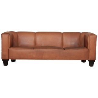 Leather Sofa by Austrian Designer Josef Hoffmann For Sale