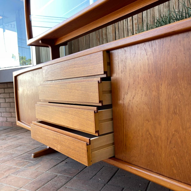 Brown 1970s Danish Modern Teak Credenza With Floating Top For Sale - Image 8 of 11