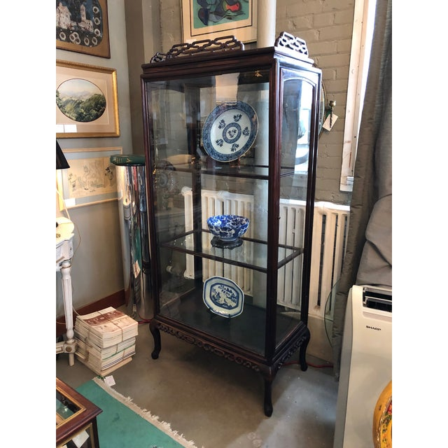 19th Century Chinese Rosewood Hand Carved 3 Shelf Curio Display Cabinet With Two Side Doors For Sale - Image 4 of 13