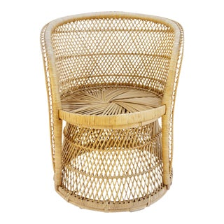 Vtg Mid-Century Mehitabel Furniture Co. Natural Woven Rattan Peacock Barrel Chair   Mid-Century Boho Furniture For Sale