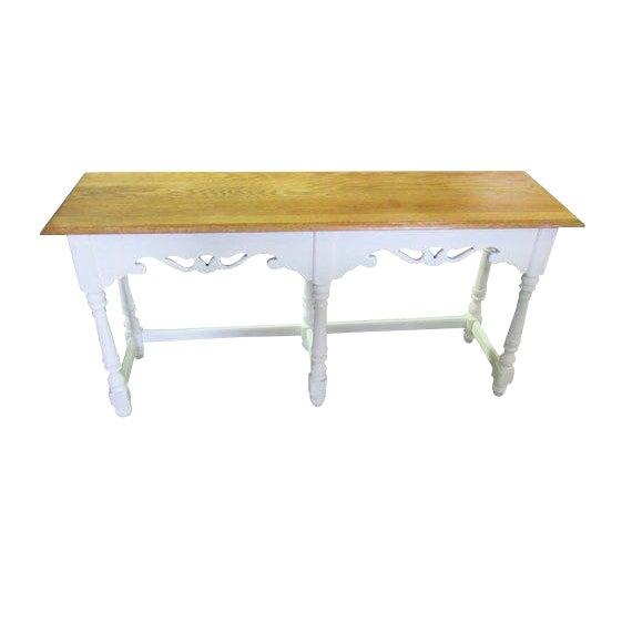 Ethan Allen Farmhouse Cottage Painted Console Sofa Table For Sale