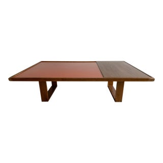 Donghia Coffee Table After Frank Lloyd Wright W/ Metal Enamel Inlay For Sale