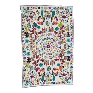 Folk Art Hand Embroidered Children's Bed Cover Throw For Sale
