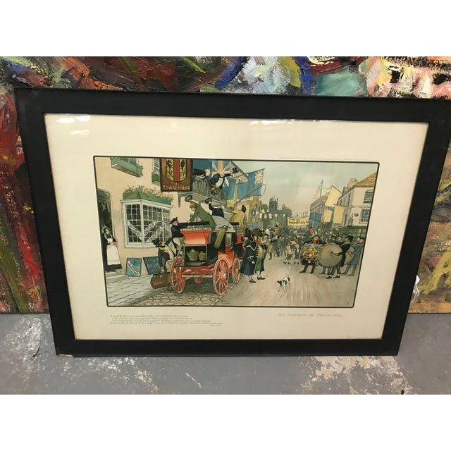 British chaotic print of election day in black frame with white matte. The piece is from the mid 20th century.