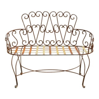 Late 20th Century Vintage Fancy Scrolling Wrought Iron Victorian Style Garden Patio Bench Loveseat For Sale