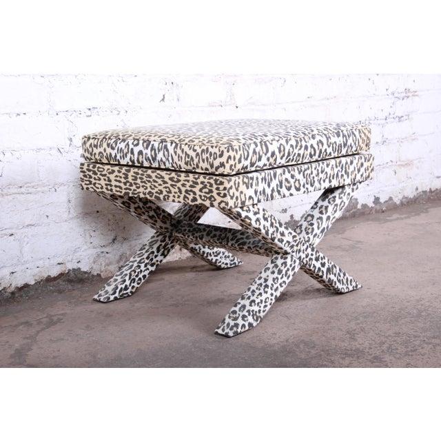 1990s Patrick Frey X-Base Leopard Stool or Ottoman, Paris For Sale - Image 5 of 13