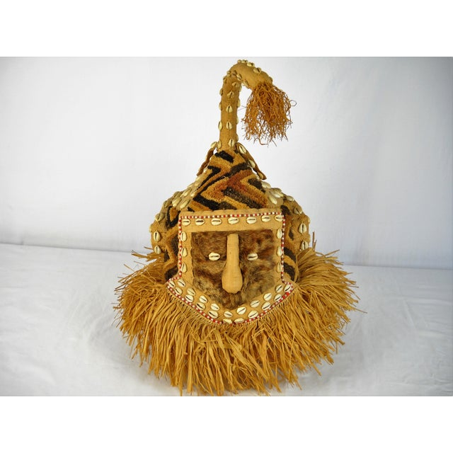 Vintage Kuba Mukenga (Moshambwooy) African Helmet hand-crafted of raffia, shells, fur, and glass beads. Excellent...