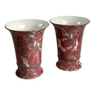 Pair of Faux Marble Pink Porcelain Vases For Sale