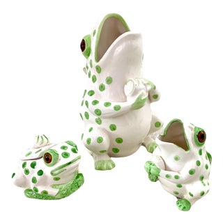 Vintage Frog Pitcher With Cream and Sugar, Set of 3 For Sale