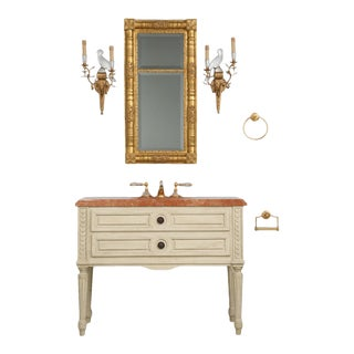 Sherle Wagner French Louis XVI Style Bathroom Vanity With All the Accessories - 6 Pieces For Sale