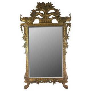 Vintage French Giltwood Mirror Frame With Floral Scrolls For Sale