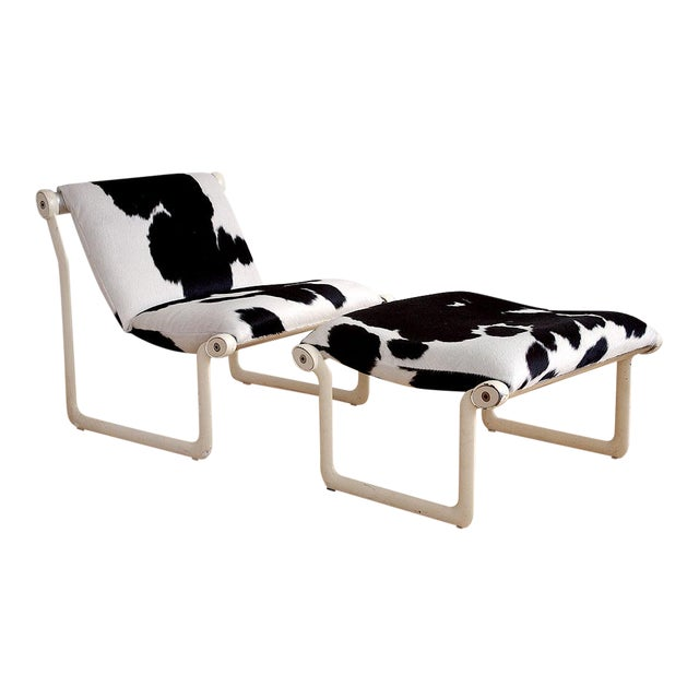 1970s Cowhide Sling Chair by Hannah & Morrison for Knoll - a Pair For Sale