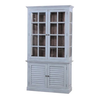 China Cabinet Hutch Bookcase Display Case Light Blue and Wood Interior For Sale