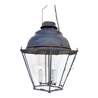 Large Late 19th Century Blue-Painted Lantern For Sale
