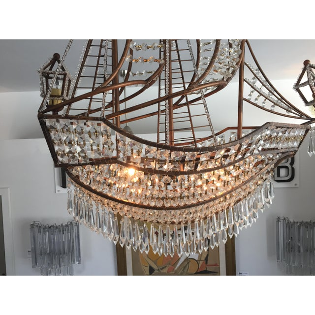 Brown Spanish Galleon Ship Crystal Chandelier, Italy 1990s For Sale - Image 8 of 13