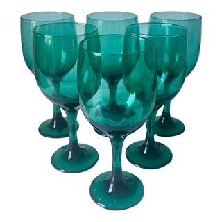 6 Vintage Turquoise Glass Goblets