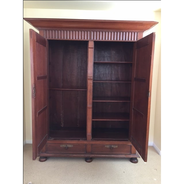 Solid Teak Art Deco Wood Armoire - Image 4 of 7