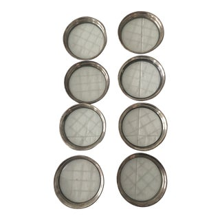 Mid Century Etched Cut Glass and Sterling Silver Coasters - Set of 8 For Sale