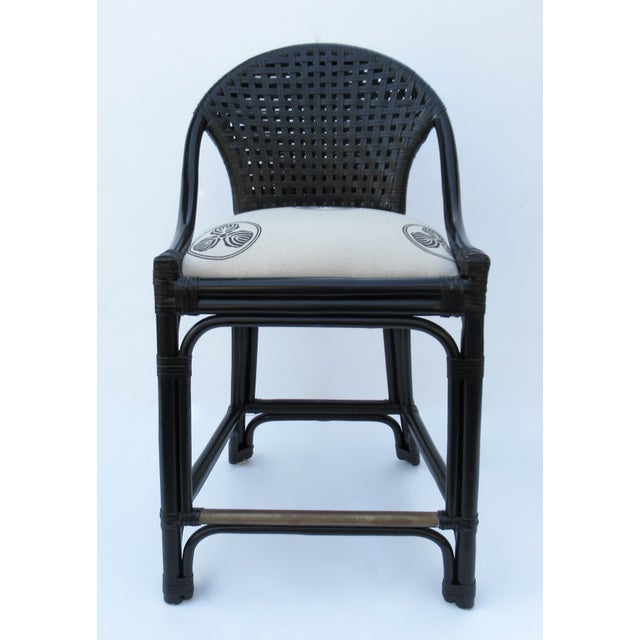 Black C.1996 Palecek Black Leather Strapped Rattan Counter Stools - a Pair For Sale - Image 8 of 12