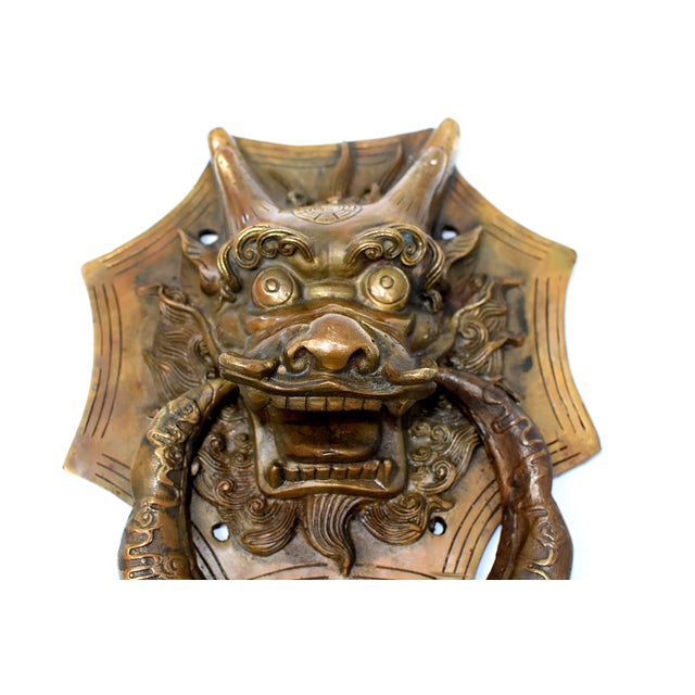 Brass Late 20th Century Small Asian Dragon Door Knockers- a Pair For Sale - Image 7 of 13