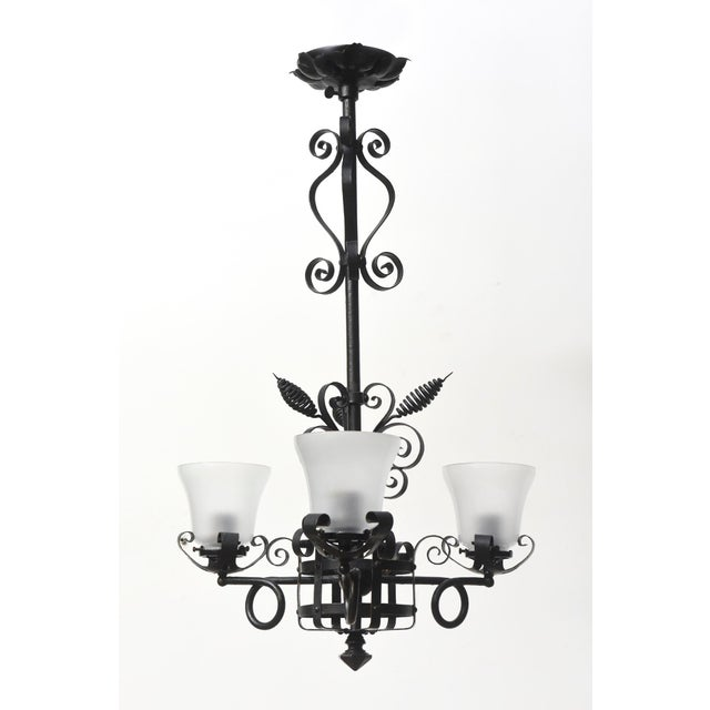 Transitional Three Light Wrought Iron Chandelier For Sale - Image 3 of 12