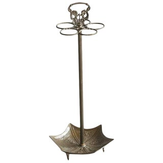 Art Nouveau Cast Iron Umbrella or Cane Stand with Base like an Open Umbrella