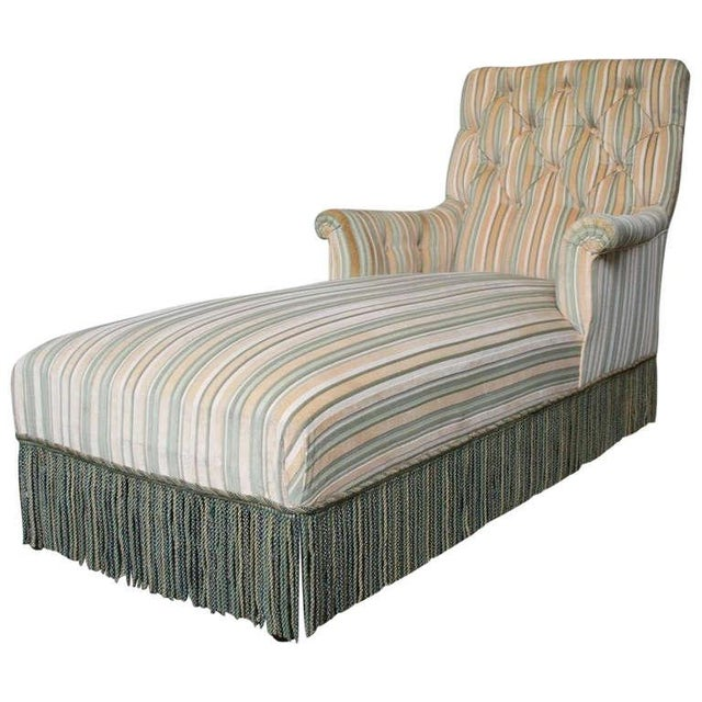 French 19th C. Napoleon III Chaise Lounge in Striped Fabric - Image 11 of 11