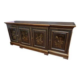 1960s Vintage Chinese Style Hand Painted Walnut Credenza/Buffet For Sale