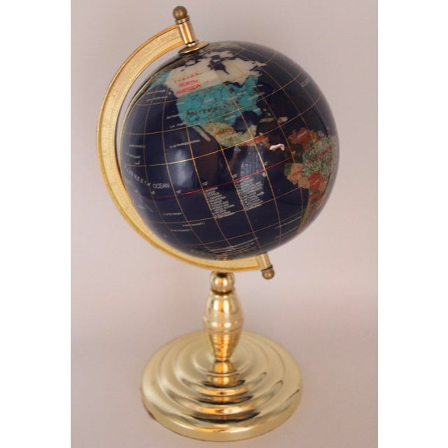 Vintage Blue Lapis World Globe on Brass Stand With Semiprecious Gems For Sale - Image 9 of 10