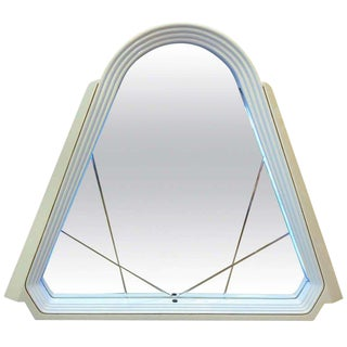 Lacquered Italian Pop Art Lighted Wall Mirror For Sale