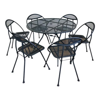 1960s Mid Century Modern Rid-Jid Folding Patio Table & 6 Chairs Set, 7 Pieces For Sale