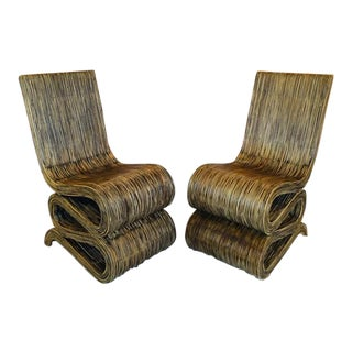 1980s Reeded Rattan Snake Chairs - a Pair For Sale